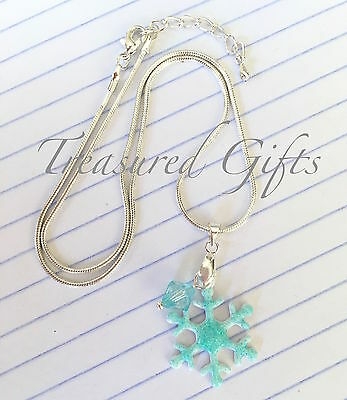 Stunning Handcrafted Frozen Glittery Snowflake Necklace Aqua Silver Party Favour