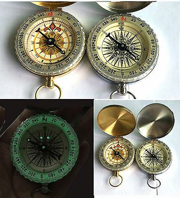 Traditional Design Brass Metal Pocket Watch Classic Compass Camping Luminous