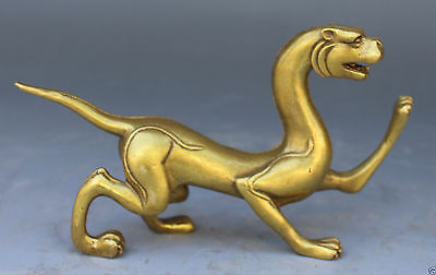 Chinese Bronze Copper Fengshui God Animal Beast Tiger Exorcise evil Statue