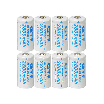 8x 3.7V CR123A 16340 2800mAh GTL Rechargeable Battery Cell for Calculators Toys
