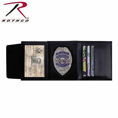 Rothco 1134 Black Leather Tri-Fold Wallet With Badge & ID Holder