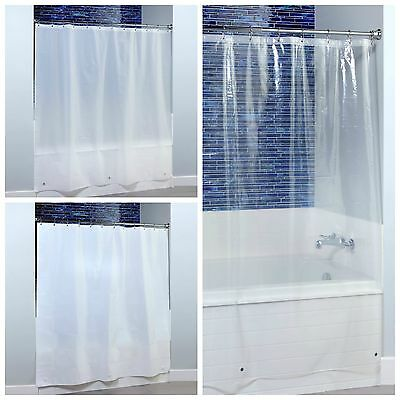 """70"""" x 72"""" Midweight PEVA Shower Curtain Liner with Microban Clear, White & Frost"""