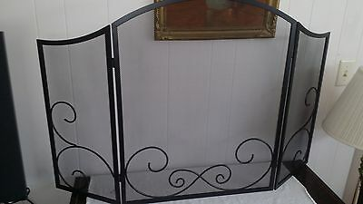 """30"""" Tall 48"""" Wide Black Embellished Scroll Wrought Iron Fireplace Screen"""