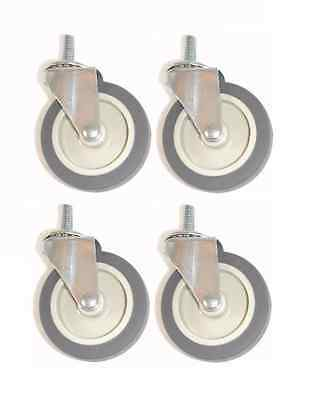 """Set of Four Swivel Stem Casters with Gray Rubber 3"""" Wheels & 3/8""""-16 x 1"""" Tall T"""