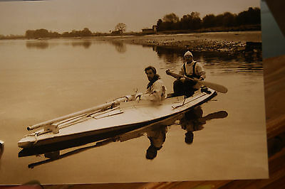 Sepia Photo Double Gunning Punt Wildfowlers Setting Out Big Gun Solway 1980's #2