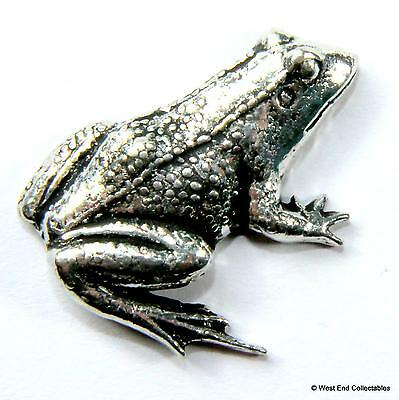 Frog Pewter Pin Brooch Badge - UK Hand Made - Toad Reptile Amphibian Grenouille