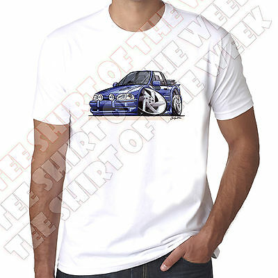 WickedArtz Cartoon Car Blue Ford Escort Cabriolet Mk4 Cotton White  T-shirt