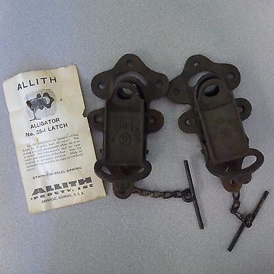 2 Antique Primitive Allith 35-1 Alligator  Door Gate Latch Industrial Lock Part