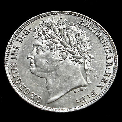 1821 George IV Milled Silver Sixpence – First Reverse – UNC