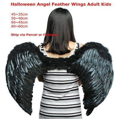 Halloween Black Feather Angel Wings Costume Kids Fairy Adults Dress Party Xmas