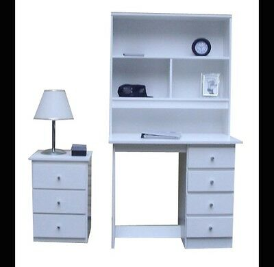 bedroom  New Desk and Hutch + 1 bedside table  In White