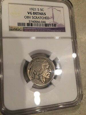 1921-S Key Date Buffalo Nickel NGC VG Details Free Ship USA !!