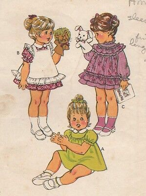 Vintage Toddler Girl's Dress Frilly Ruffles Sewing Pattern UNCUT Puff Sleeves