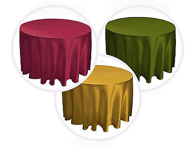 "8 PACKS 120"" inch Round SATIN Tablecloth WEDDING 25 COLOR 5' Ft table USA SALE"