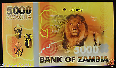 Zambia Lion Commemorative Polymer Banknote 5000 Kwacha PRIVATE FANCY 2015 UNC