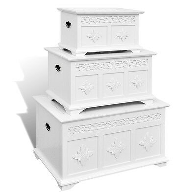 New Set of Three White Painted Storage Chests MDF Pine Elegant Hand-carved