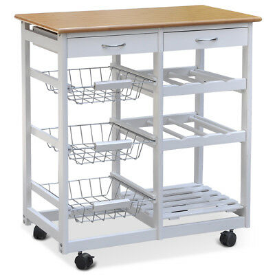 Kitchen Trolley Lockable Wheels Island Wood Dining Cart WorktopStorage Drawers
