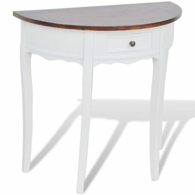 New White Half-round Console Table with Drawer Brown Top MDF Pine High-quality