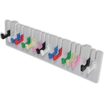 New Piano Keyboard Design Wall-mounted Coat Rack with 16 Colourful Hooks Steel