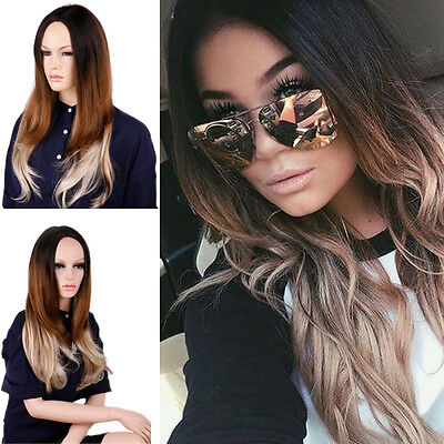 Women's Dip Dye Long Hair Wigs Ombre Balayage Color Gradient Tip Cosplay Costume