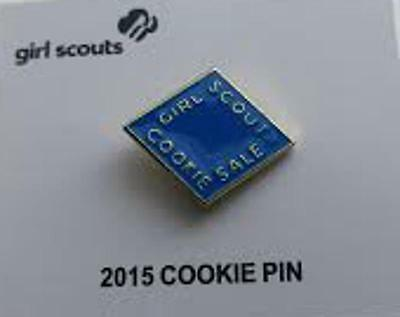 2015 Girl Scout COOKIE PIN - Electric Blue - NEW ON CARD