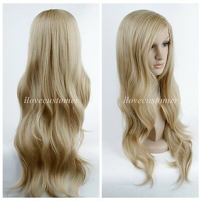 New Hot ~Blonde Long Wave Curly Cosplay Party Lady Heat Resistant Full Hair Wigs