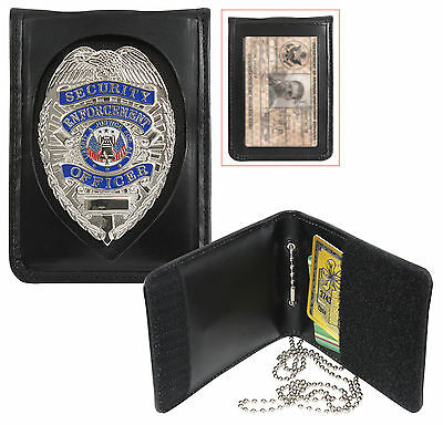 Badge & ID Holder with Neck Chain1 Leather Shield Style Bi-Fold  139 Rothco
