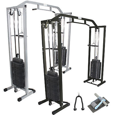 Power Cable Crossover Exercise Gym Machine Commercial  Black/silver Gymmaster
