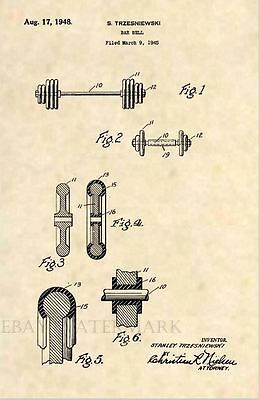 Official Barbell US Patent Art Print - Original Antique Gym Fitness Exercise 324