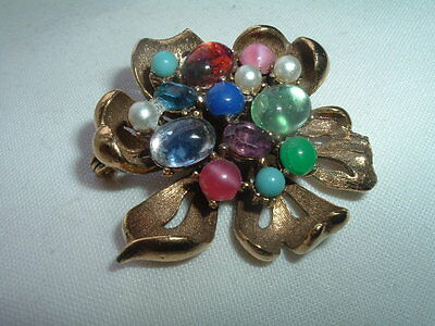 Beautiful Vintage Estate Jeweled Dogwood Flower Brooch Pin In Gift Box