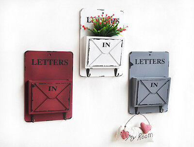 Wood Mail Letter Rack Key Holder Wall Storage Creative Home Decor Hook White Red