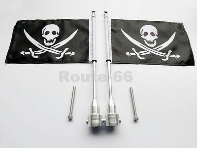 2 CNC Chrome Rear Side Mount Luggage Rack Flag Pole Pirate For Harley Motorcycle