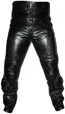 """ANARCHY"" New Black Leather Biker Motorcycle Trousers - All sizes!"