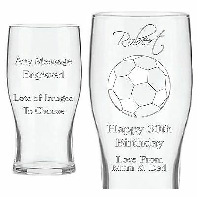 Personalised Pint Beer Glass Engraved Birthday Christmas 18th 21st 30th Gift