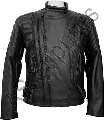 """ROGUE"" Classic Black Leather Biker Motorcycle Jacket - All sizes!"