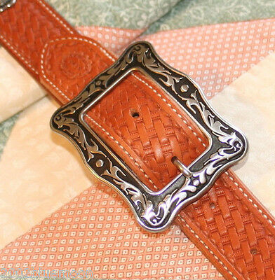 Jeremiah Watt Accented Floral Buckle, for Belt Bridle Horse Tack