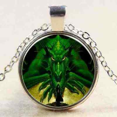 Green Fire Dragon Girl PictureArt Silver Amulet Necklace Elemental Pendant Pouch