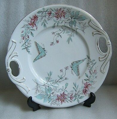 HAND PAINTED Antique AESTHETIC ERA China CAKE PLATE For Sale BUTTERFLY & POSY