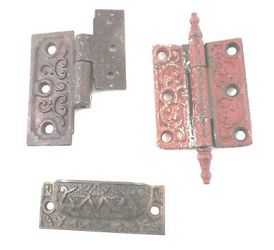 Eastlake Style Hardware Door Hinges (1 complete) (1 not matched) & Drawer Pull