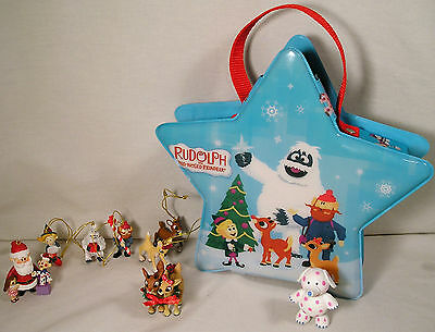 Rudolph Red Nose Reindeer Mini Ornaments Carry Case Carlton Cards,Enesco Figures