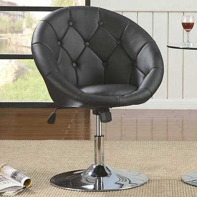 Round Tufted Black Faux Leather Adjustable Swivel Chair by Coaster 102580
