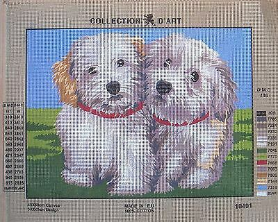 """Discontinued Collection d'Art- White Puppies 10.401  Canvas 16 x 12"""""""