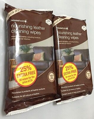 Nourishing Leather Cleaning 60 Wipes For Including Furniture Shoes &Car Interior