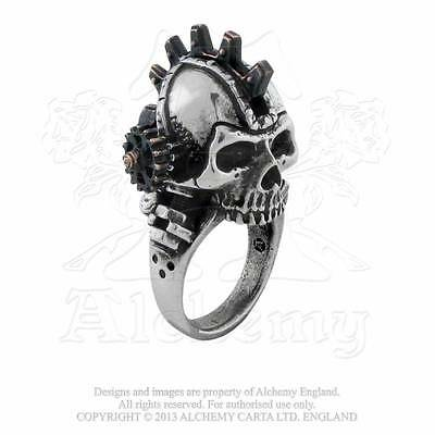 Alchemy Gothic Empire Steampunk Steamhead Ring Punk Automaton Skull R186 UK Made