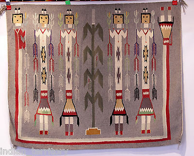 "Navajo Indian Yei Rug c.1930 42"" x 34"""