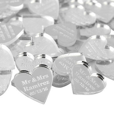 Personalized Engraved Love Heart  2*2cm Wedding Table Name Decor Gift avors 48Pc