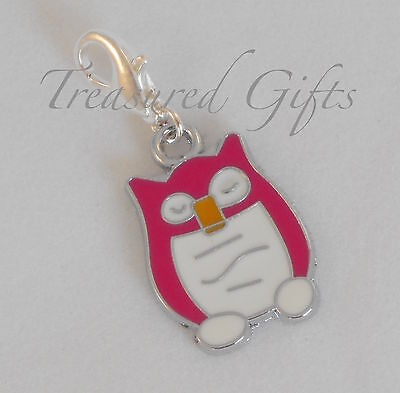 Pink & White Enamel Owl Clip on Charm - Silver Plated