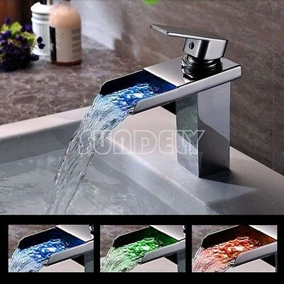 Hot Sale Bathroom Waterfall Chrome Brass Widespread LED Basin Faucet Mixer Tap