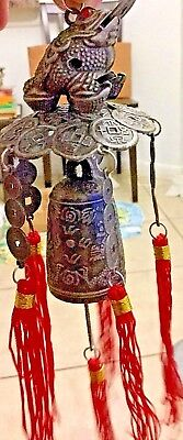 Money Frog Feng Shui Brass Lucky Chinese Bell Wind Chime Comes In Box Simple