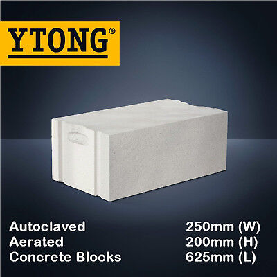 YTONG Autoclaved Aerated Concrete AAC Blocks (Euro Hebel) 625mm x 250mm x 200mm